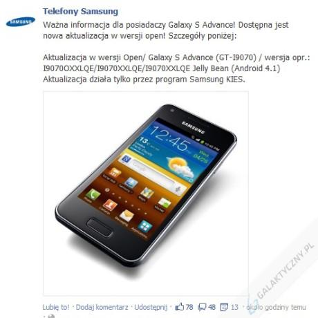 Aktualizacja dla Galaxy S Advance [źródło: Samsung]