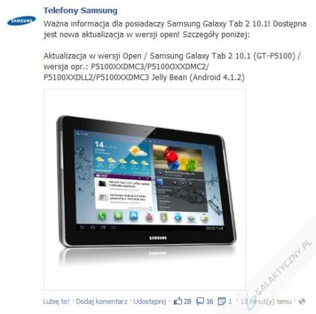 Aktualizacja do Jelly Bean tabletu Samsung Galaxy Tab 2 10.1 GT-P5100 [źródło: Samsung]