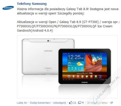Android 4.0.4 Ice Cream Sandwich dla Galaxy Tab 8.9 [źródło: facebook.com/TelefonySamsung]