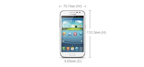 Samsung Galaxy Win - wymiary [źródło: samsung.com/cn]