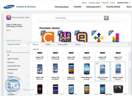 Samsung Galaxy S 4 mini w Samsung Apps [źródło: TGSpot]
