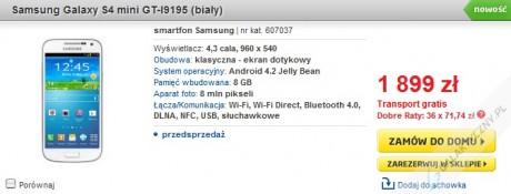 Samsung Galaxy S 4 mini (biały) w przedsprzedaży w Polsce [źródło: Euro]