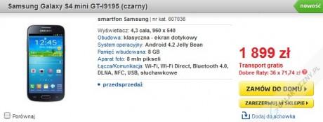 Samsung Galaxy S 4 mini (czarny) w przedsprzedaży w Polsce [źródło: Euro]