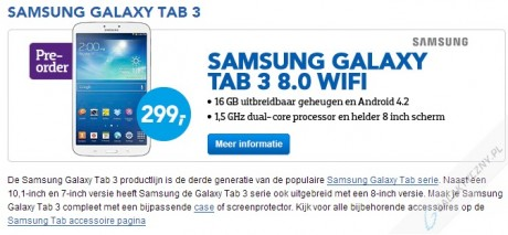 Cena tabletu Galaxy Tab 3 8.0 [źródło: tabletcenter]