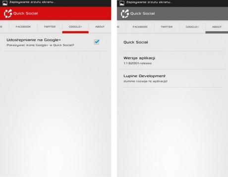 Quick Social - Google+ i About [źródło: galaktyczny.pl]