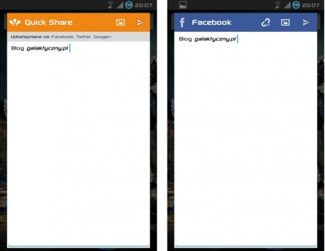 Quick Social - Quick Share i Facebook [źródło: galaktyczny.pl]