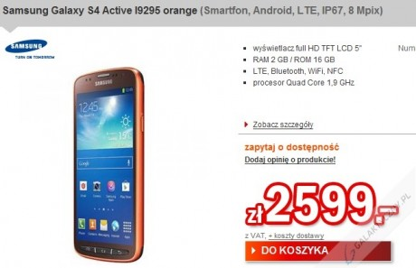 Samsung Galaxy S 4 Active w Redcoon [źródło: Redcoon]