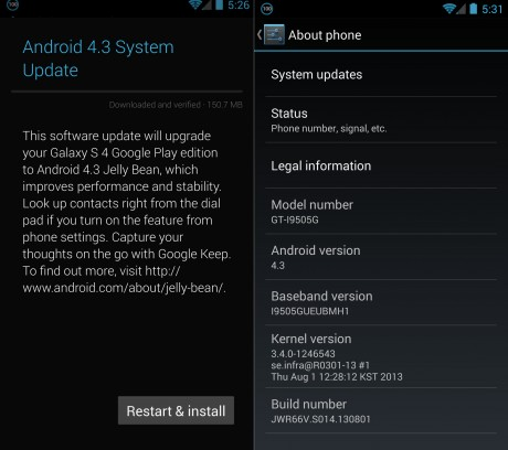 Android 4.3 Jelly Bean dla Galaxy S 4 Google Edition [źródło: SamMobile]