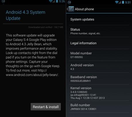 Android 4.3 Jelly Bean dla Galaxy S 4 Google Edition [źródło: SamMobile]