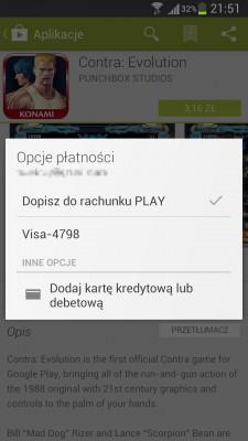Dopisz do rachunku PLAY - wybór opcji [źródło: Google Play]