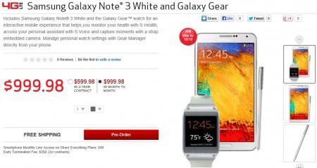 Galaxy Note 3 + Galaxy Gear (biały) [źródło: Verizon]