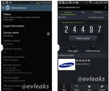 Galaxy Note III - Info & AnTuTu [źródło: evleaks]