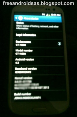 Android 4.3 Jelly Bean na Galay S III [źródło: SamMobile]