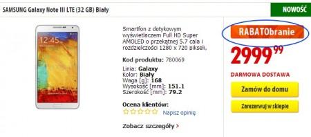 Samsung Galaxy Note 3 (biały) z rabatem [źródło: Media Expert]