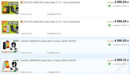 Galaxy Note 3 i Galaxy Gear w zestawie [źródło: Allegro]