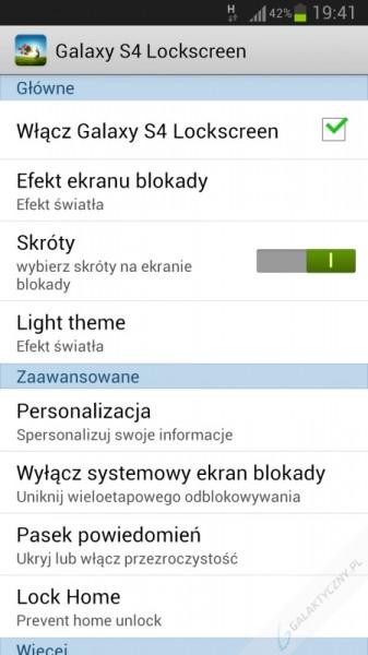 Ekran blokady z Galaxy S4 - Ustawienia [źródło: Google Play]