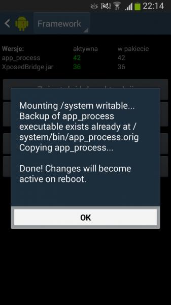 """Komunikat Xposed Installer wyświetlany po wybraniu """"Zainstaluj lub uaktualnij"""" i zezwoleniu na dostęp do praw roota"""