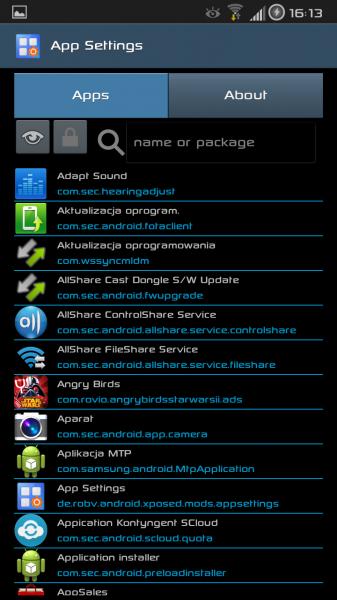App Settings - Menu główne