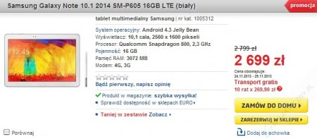 Samsung Galaxy Note 10.1 2014 w Euro [źródło: Euro]