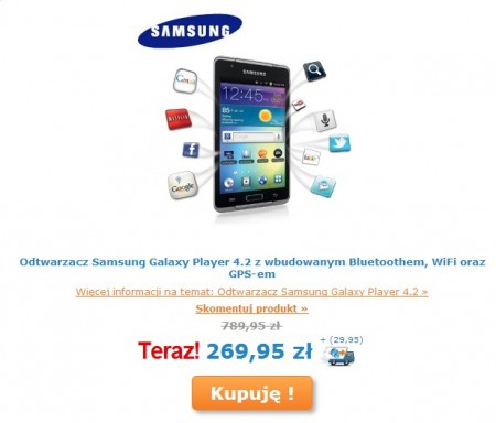 Galaxy Player 4.2 na iBood [źródło: Samsung]