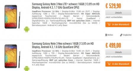 Samsung Galaxy Note 3 Neo - ceny [źródło: Samsung]