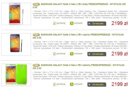 Samsung Galaxy Note 3 Neo - przedsprzedaż  [źródło: Sferis]