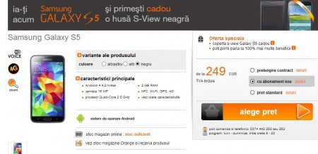 Pre-order Galaxy S 5 w Orange [źródło: Orange]