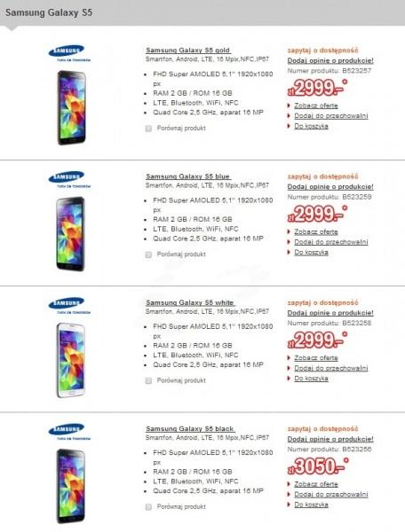 Cena Samsunga Galaxy S 5 [źródło: Redcoon]