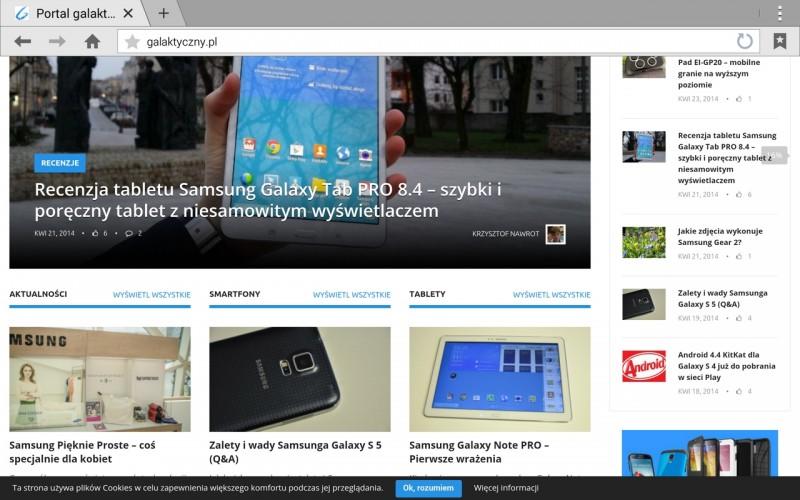 Samsung Galaxy Note PRO - Strona www / fot. galaktyczny