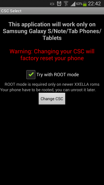 Samsung Galaxy S / S2 / S3 CSC