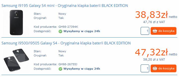 Klapka do Galaxy S4 i S4 mini Black Edition / fot. hurtowniaGSM