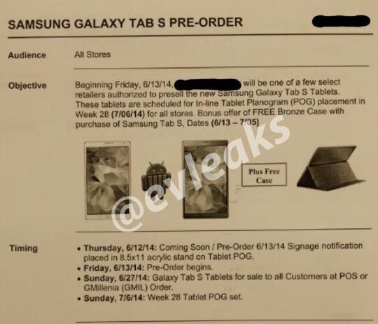 Galaxy Tab S / fot. evleaks
