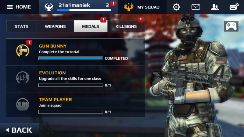 Modern Combat 5: Blackout - menu