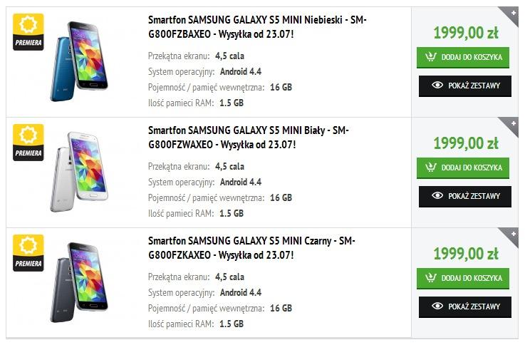 Samsung Galaxy S5 mini - przedsprzedaż