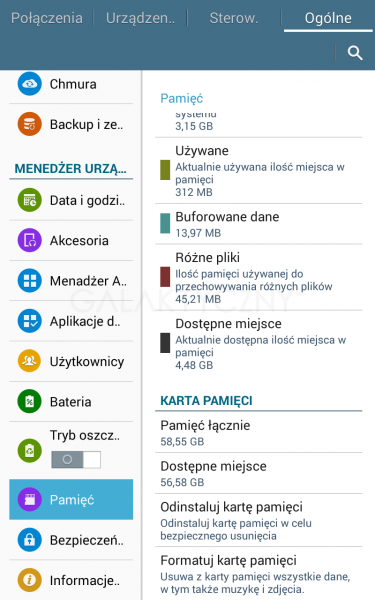 Pamięć w Galaxy Tab 4 7.0