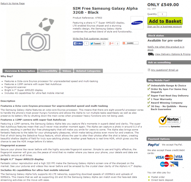 Samsung Galaxy Alpha - przedsprzedaż