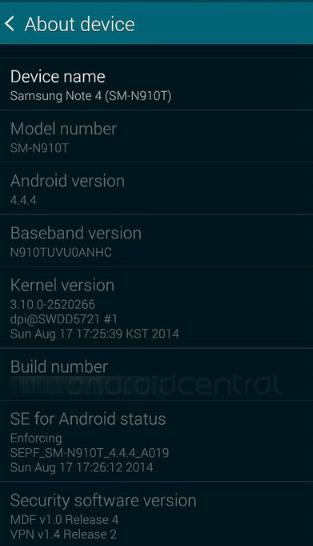 Informacje o Samsungu Galaxy Note 4