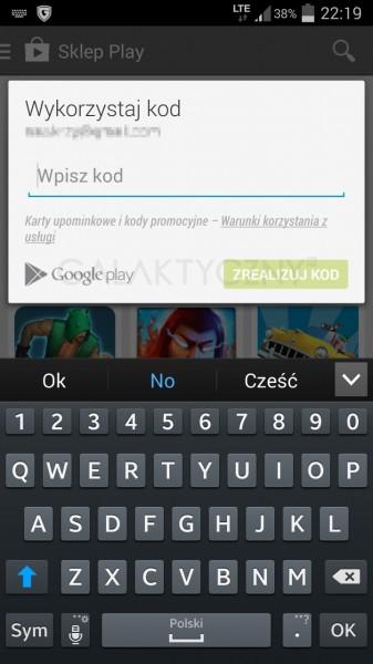 Aplikacja Google Play - karta upominkowa