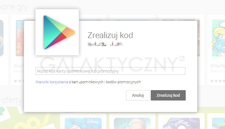 Google Play - karta upominkowa
