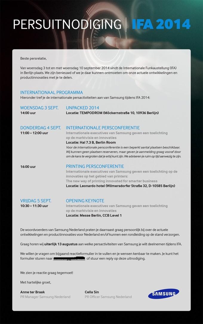 IFA 2014 zaproszenie na UNPACKED 2014