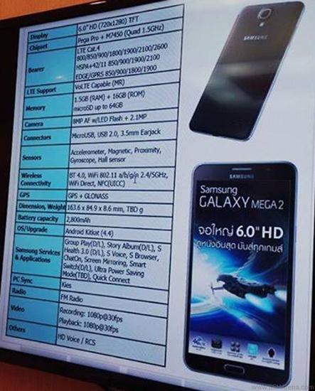 Specyfikacja Samsung Galaxy Mega 2