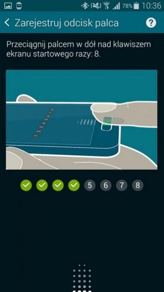 Skaner odcisków palców w Samsungu Galaxy S5