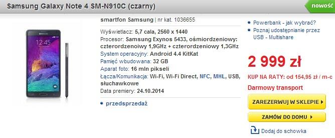 Samsung Galaxy Note 4 w Euro