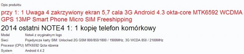 Podróbka Galaxy Note 4