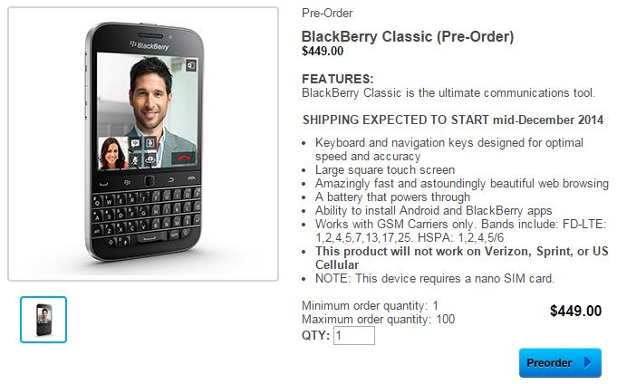 Przedsprzedaż BlackBerry Classic