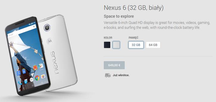 Cena Nexusa 6 / fot. play.google.com/store/devices