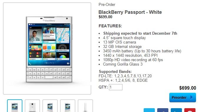 BlackBerry Passport w przedsprzedaży