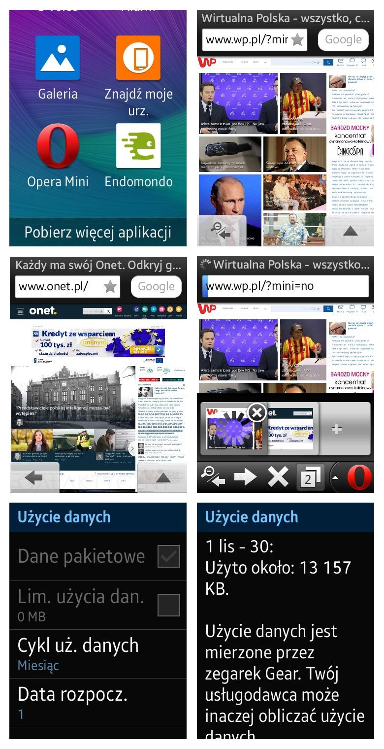 Samsung Gear S - Opera i użycie danych