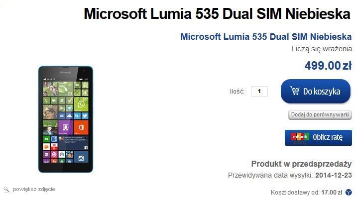 Microsoft Lumia 535 Dual SIM - przedsprzedaż