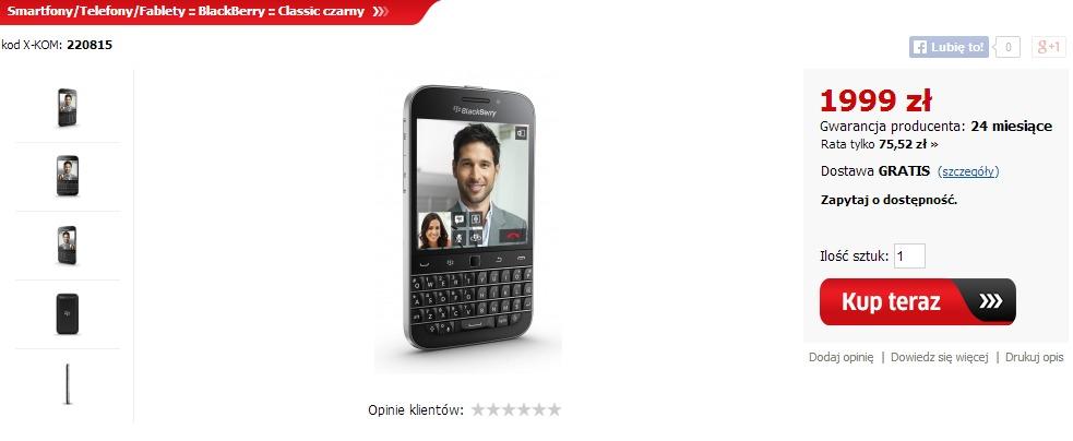 BlackBerry Classic w X-KOM / fot. X-KOM